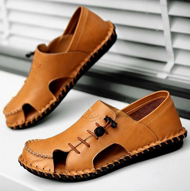 New Roman Mens Leather Summer Casual Comfort Antiskid Beach Sandals shoes size