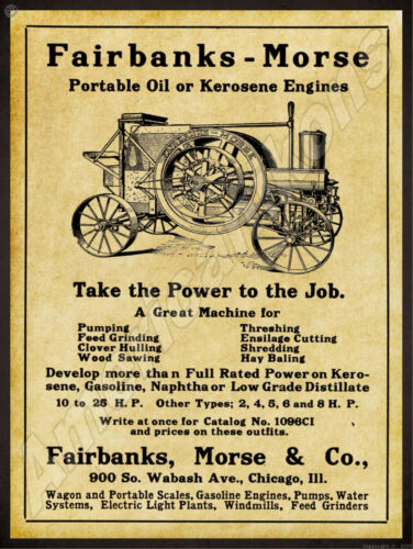 IL 1912 Fairbanks Morse New Metal Sign: Kerosene /& Oil Engines Chicago