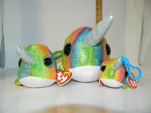 3 pc Lot SET 2018 Blitz the Unicorn TY BEANIE BOOS sz MED /& Reg Boo /& Clip Boos