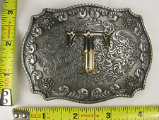 """""""T"""" INITIAL METAL BELT BUCKLE RODEO COWBOY WESTERN LETTER COWGIRL B590"""
