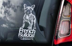Bulldog-Frances-a-Bordo-Coche-Ventana-Pegatina-bouledogue-Perro-Forma-V03