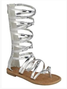 Details about New Kids Knee High Gladiator Sandals Flat Sandals gold on sale size 9 to 4