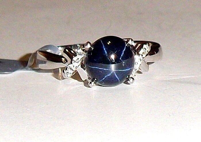 bluee Star Sapphire Round Solitaire & W Topaz Round Ring, Sizes 5, 8-9, 3.57(TCW)