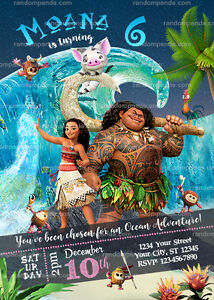 Image Is Loading Disney Moana Party Invitation Ocean Maui Birthday Invite