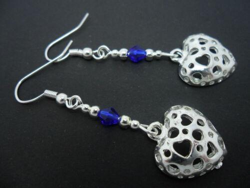 Nueva. Un PAR DE Dangly PLATA TIBETANA CORAZÓN Pendientes de Perla /& Azul Cobalto