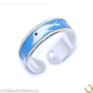 Zehring Delfine 925 Echt Silber Fußschmuck Zehenring Delphin einstellbar