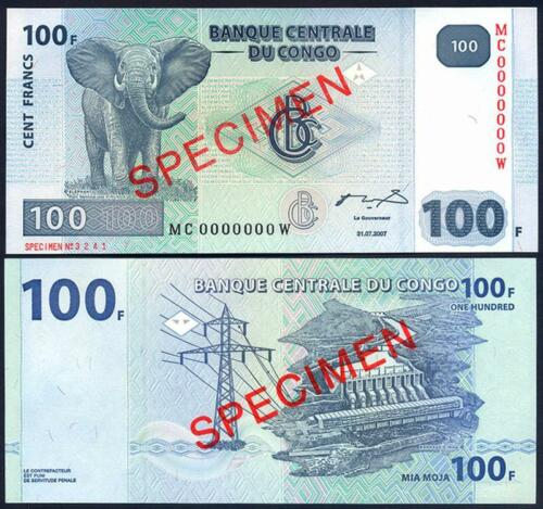 CONGO DEMOCRATIC 100 Francs 2007 SPECIMEN UNC Pick 98A SPECIMEN