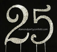 Large Rhinestone Crystal Covered 25 25th Anniversary Birthday Number Cake Topper