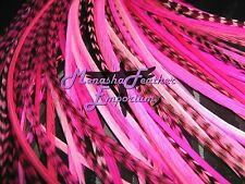 Pink Feather hair extensions 10 Breast Cancer Awareness grizzly extra long beads