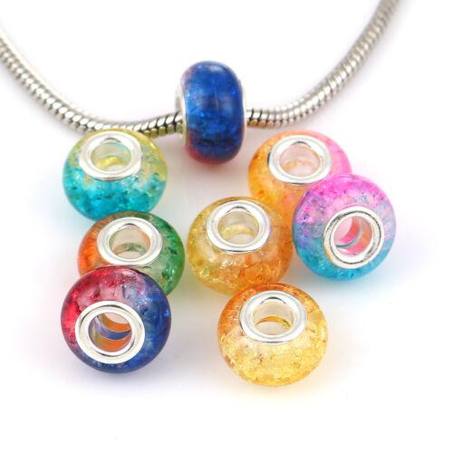 20 pcs Zinc Alliage Base /& résine style Européen Grand Trou charme perles deux tons