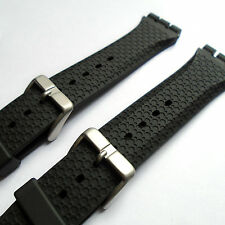WATCH STRAP Black Rubber Fits SWATCH IRONY CHRONO 19mm Quality Resin FREE UK P&P