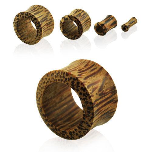 Flesh Tunnel Organic Wood Double Flared Saddle Fit Tube Earlet Ear Plug Piercing