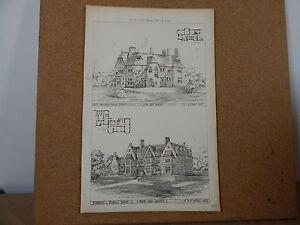 Antique-Architects-Print-nostell-Parsonage-york-amp-Delamere-House-Devon-1876