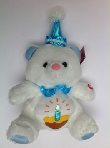 "10"" Bear Plush with Hat White Musical Boy Girl Blue Birthday Song NEW"