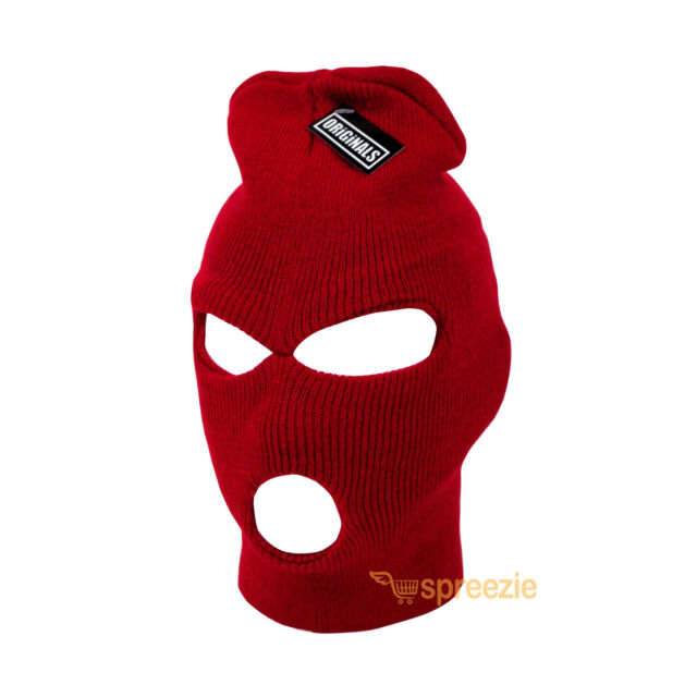 a2ff14d0ff8 Red Ski Mask Beanie 3 Hole Knitted Cap Hat Warm Face Winter Snow Mens Womens  New