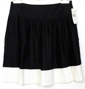 100 Pieghe 12 Ms Skirt Lauren Cotton Size Ralph Nero Women's Nwt Over White AwqCUzxInX