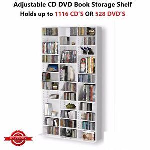 Adjustable-CD-DVD-Book-Storage-Rack-Shelf-Tower-Case-528-DVD-039-s-or-1116-CD-039-s