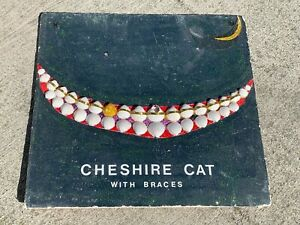 Original ART OOAK Seashell CHESHIRE CAT Braces GOLD CHIP TOOTH Nautical Decor