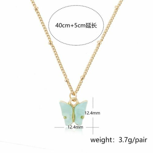 Clavicle Chain Butterfly Necklace Pendant Acrylic Sweet Earrings Jewelry Set