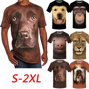 Funny-Men-3D-Animal-Printing-Tops-Basic-Tee-Short-Sleeve-T-Shirt-Blouse-Pullover