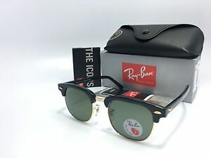 Ray-Ban-RB3016-Clubmaster-901-58-POLARIZED-Black-Gold-Frame-Green-Lens-51mm