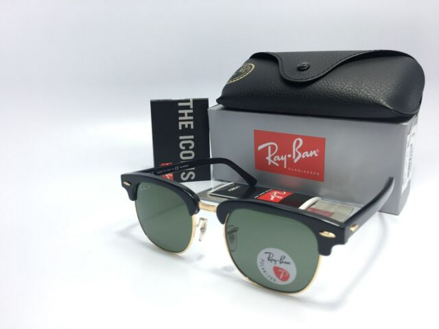 50c6430ebccb8f Ray-Ban 3016 Clubmaster 901 58 Polarized Green Lens Black Gold Frame 51mm