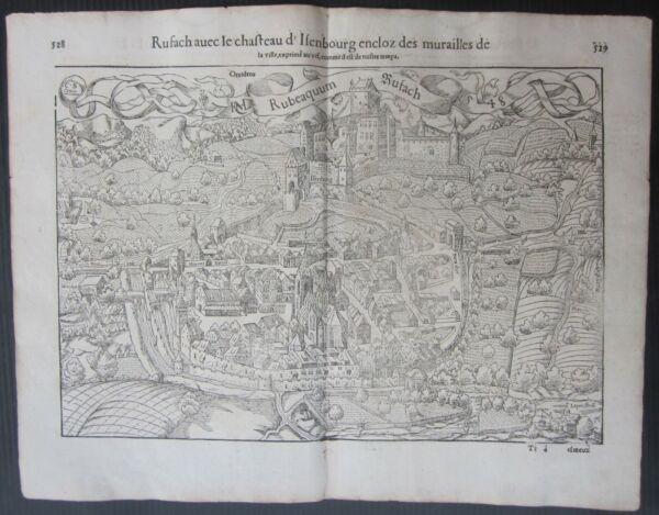 1568 Rouffach Cosmografia Universalis Munster Château Castle Isenbourg France