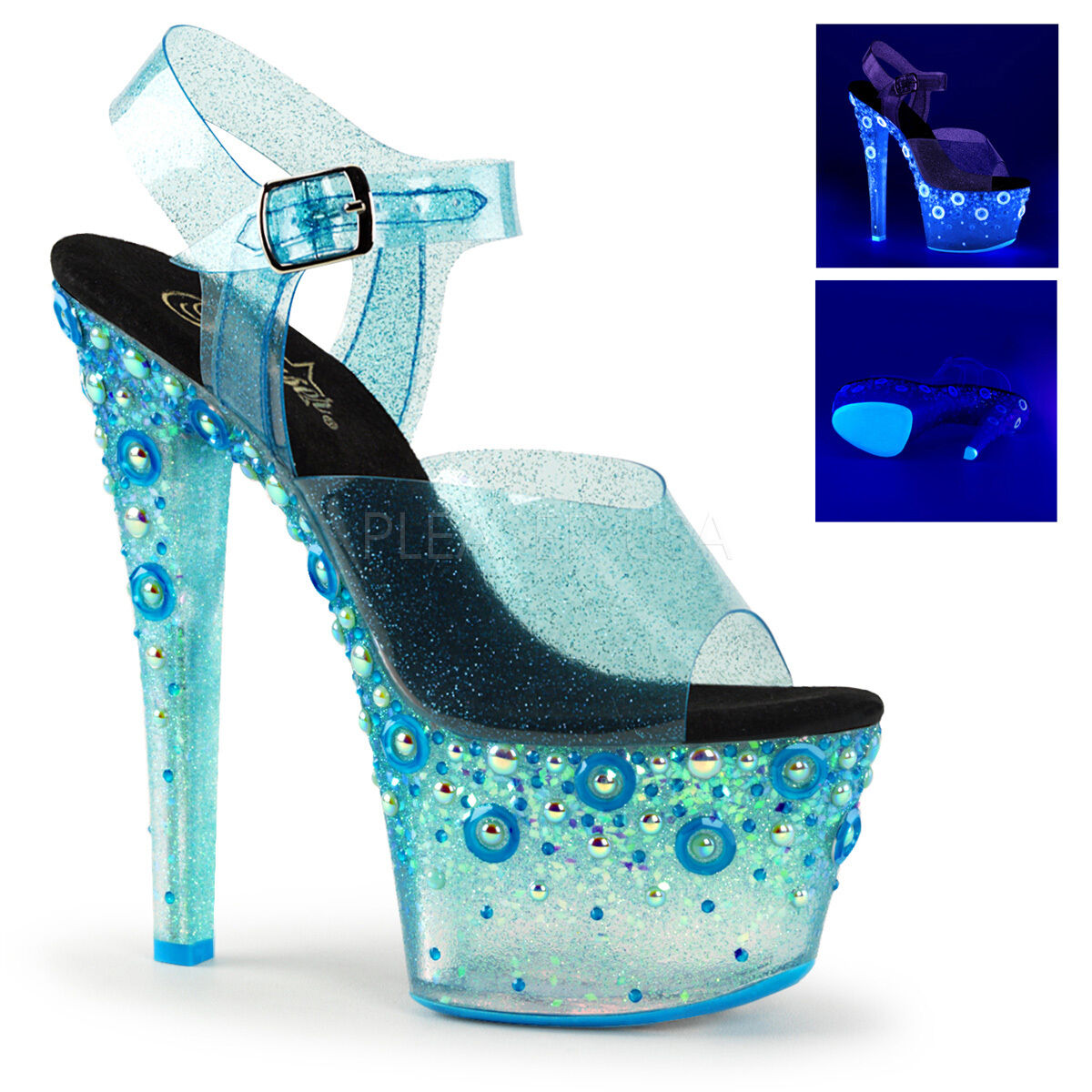 Pleaser Pleaser Pleaser Exotic Dancing Platform Ankle Strap Sandals SKY-308UVMG UV Blacklight cbd247