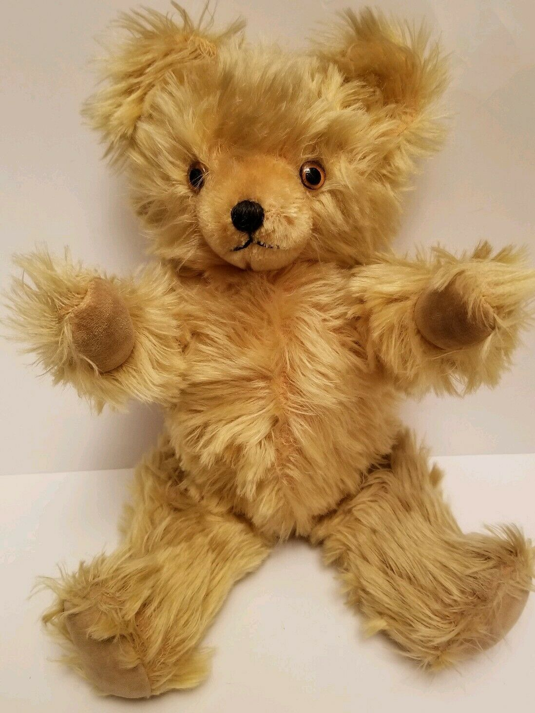 Vintage Stuffed Teddy Bear 18  Fully Jointed oro  Blonde Glass Eyes Straw Chest