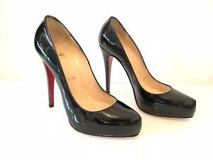 217374296fb Details about CHRISTIAN LOUBOUTIN Rolando 120 black patent high heel pump  38.5 EU 8.5 US 5.5UK