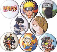 Naruto 8 Pins Buttons Badges Anime Sasuske Uchiha Itachi Kakashi Sharingan