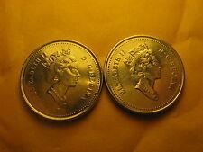 2 VARIETIES CANADA 2001 5 CENT COINS P MARK & NO P MARK VARIETIES