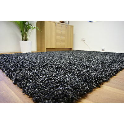 Large Shaggy Black Charcoal Grey Anthracite Rug 140x200 Clearance