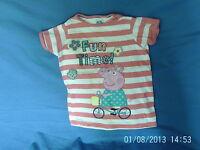 Girls  6-7 Years  - Pink & White Striped T-Shirt - Peppa Pig Motif - M&S