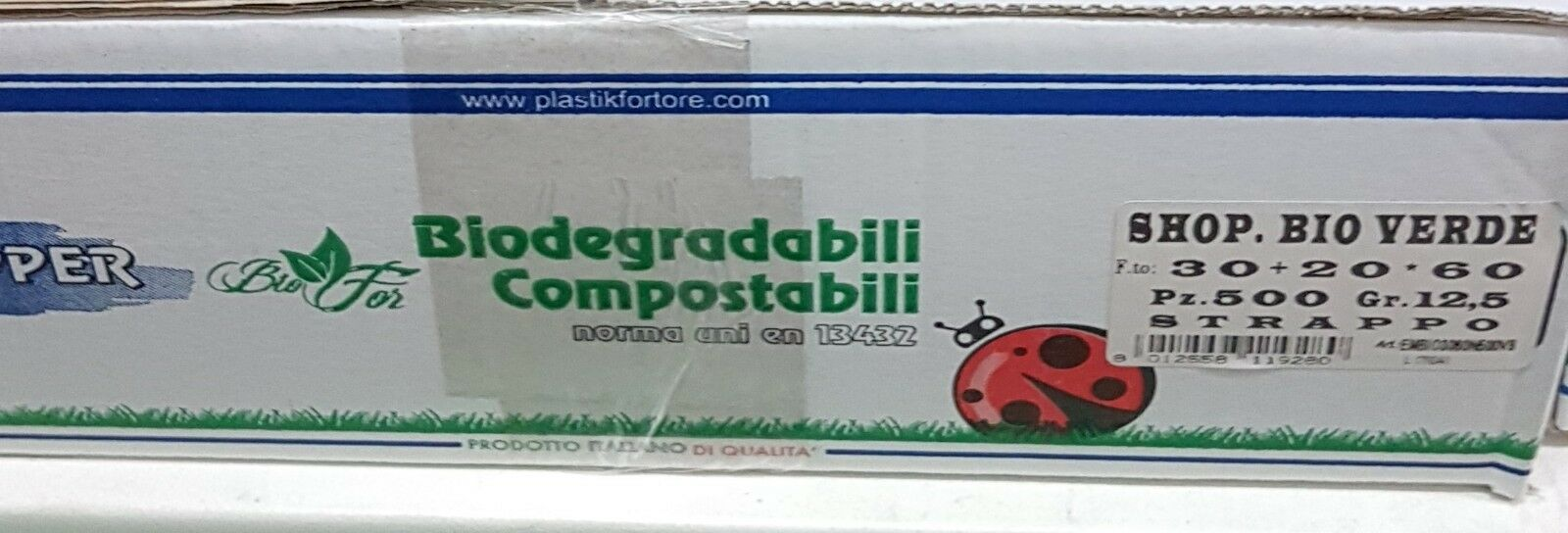 500 BUSTE SHOPPER 30+20x60 BIODEGRADABILI verde COMPOSTABILI BIO 12,5 GR