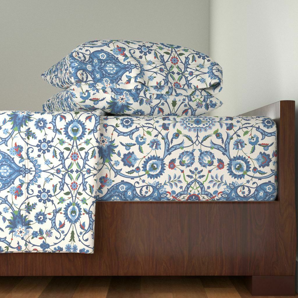 c4605c1386 Indian Floral Indian Floral blu rosso 100% Cotton Sateen Sheet Set by  Roostery