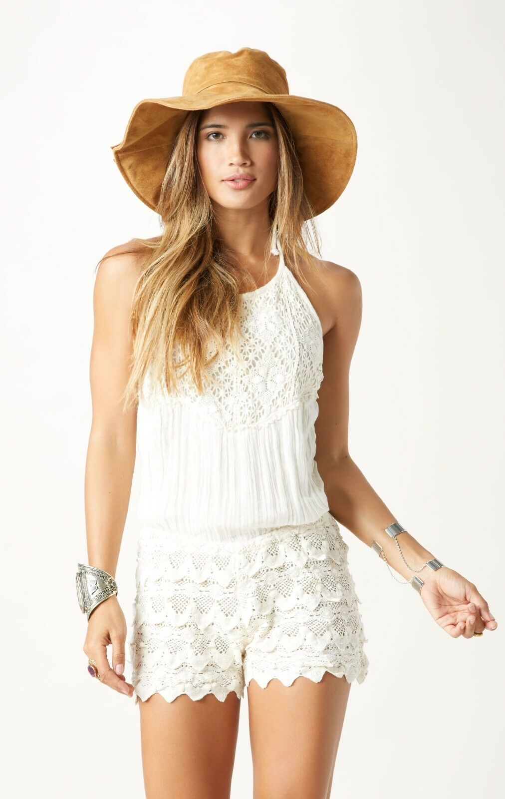 Jen's Pirate Booty Peruvian Crochet Ivory Natural Cotton Halter Playsuit   S M L