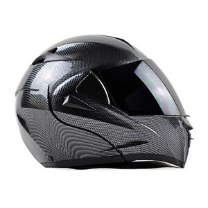 DOT Bluetooth Motorcycle Helmet Carbon Fiber Modular Flip Up Full Face 2 Visor M