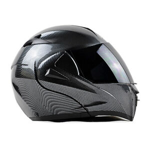 DOT Bluetooth Motorcycle Helmet Carbon Fiber Modular Flip Up Full Face 2 Visor L