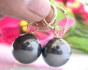 Rare Huge 14mm Tahitian Gold South Sea Shell Pearl Dangle Earrings 14KGP AAA