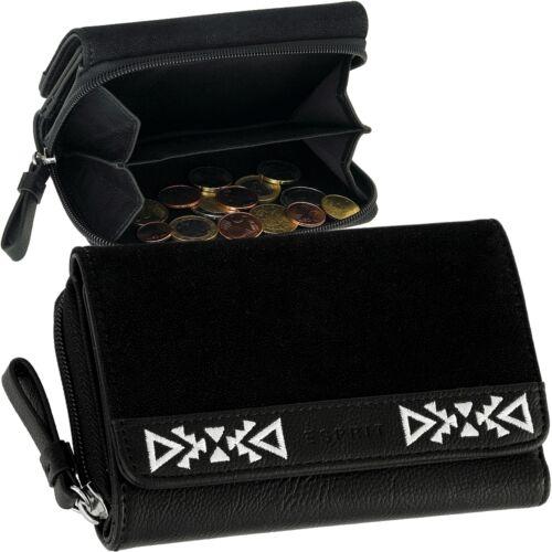 Esprit Zipper da Donna Portafoglio-Portafoglio vellutato nero portafoglio wallet NUOVO