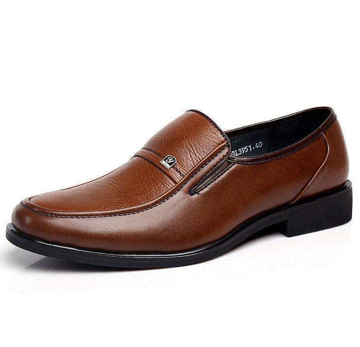 Men's Work Business Oxford Leather shoes Slip On Dress Casual Loafers Brown SYJJ
