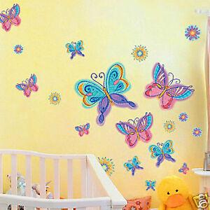 Pink-Blue-Purple-Butterfly-Removable-Wall-Sticker-Flower-Home-Vinyl-Kids-Nursery