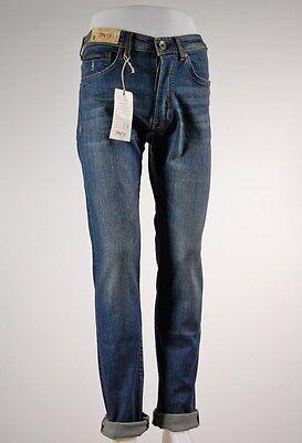 Jeans uomo cotone stretch MCS con inserti in pelle trattamento dirty tutte le TG