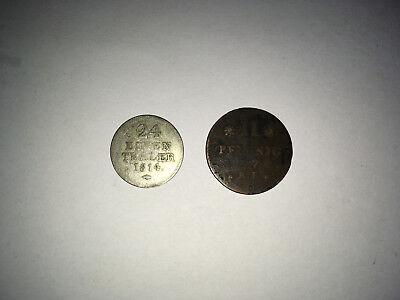 Ausdauernd 2x Darmstadt Hessen 1) Ii Pfennig 1776 Und 2) 1/24 Taler 1814 Silber Eine GroßE Auswahl An Waren