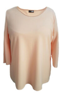 Womens-Tunic-Top-Blouse-Peach-Textured-Plus-Size16-18-20-22-24-26-28-30-32-34-36