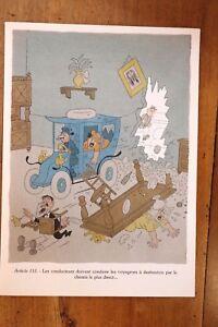 1955 Albert Dubout Gravure Couleurs Code De La Route à Encadrer Décoration N°15 Parfait Dans L'ExéCution