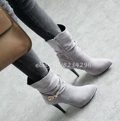 Schick Ankle Stiefeletten Damenschuhe Kurzer Stiefel Boots High Heels Lesbie NEU