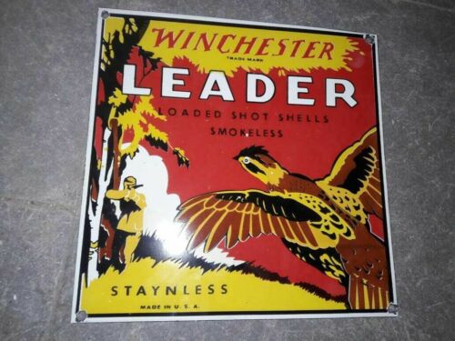 Lot of 2 Porcelain Winchester Leader Sign 12 X 12 Inches
