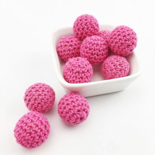 10pcs Crochet Yarn Ball Beads Cream Knit Teething Baby Shower Safe Jewelry hOT